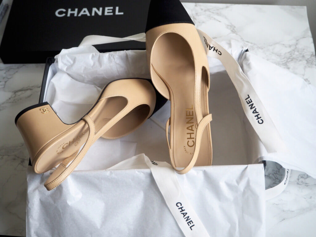 chanel two tone slingback